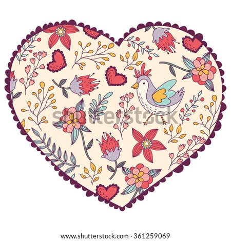 Floral pattern with birds in heart. Vector illustration.Romantic Valentine's Day card template.