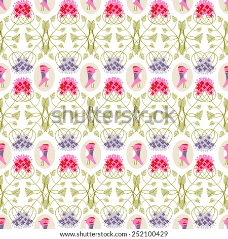 floral pattern with birds on white background - stock vector