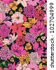 Floral Pattern with hand-drawn flowers. Brightly-colored seamless wallpaper - stock photo