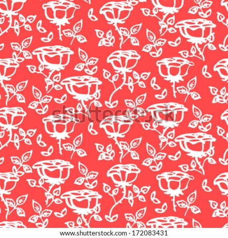 Floral pattern with hand drawn roses with leaves on coral red. Texture for print, textile, fabric, spring summer fashion, wallpaper, home decor, wedding invitation background, flower shop website