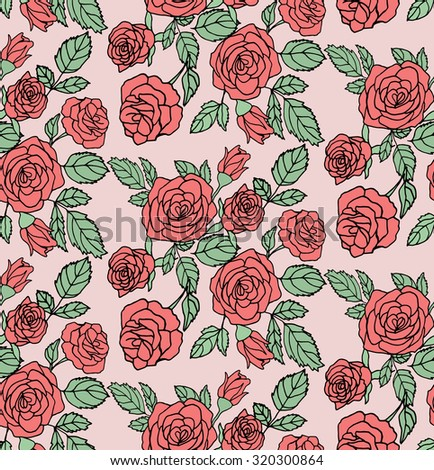 Floral Pattern With Red Roses On Pink Background Seamless Vector Texture For Print Spring