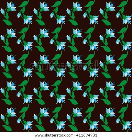 Floral pattern with tiny blue flowers on brown. Vector illustration. - stock vector
