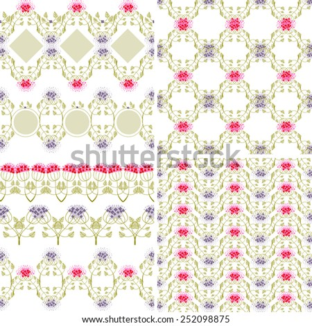 floral patterns and borders on a white background - stock vector