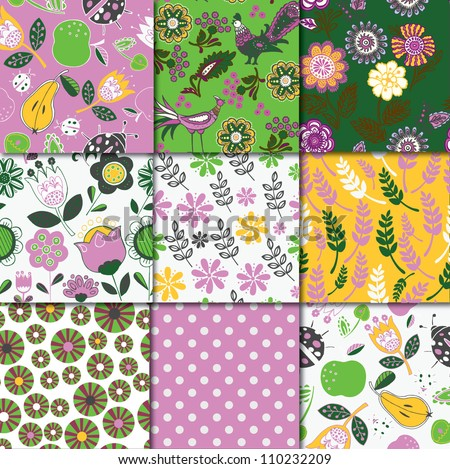 Floral Patterns Collection - stock vector