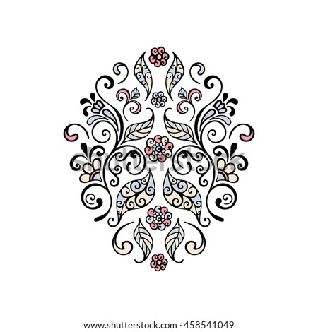 Floral patterns, swirls, leaves, flowers, design element. Hand drawn vector illustration. - stock vector