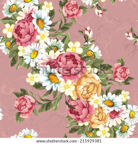 Floral peonies seamless pattern in vintage style. Beautiful vector texture - stock vector