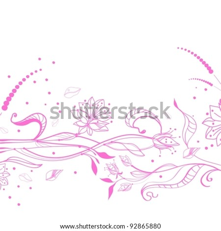 Floral pink background over white, vector