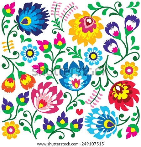 Floral Polish folk art pattern in square - Wzory Lowickie, Wycinanki  - stock vector