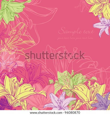 floral red background with lily - stock vector