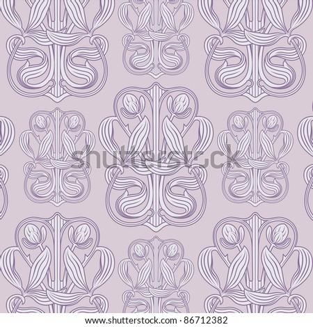 floral retro pattern lavender - stock vector