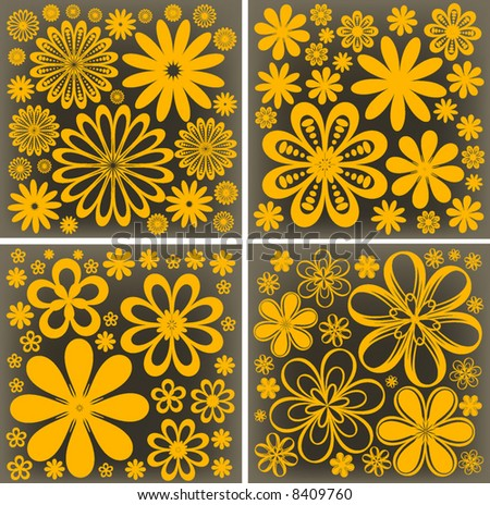 floral retro vector flower design background - stock vector
