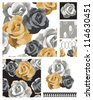 Floral Rose Seamless Patterns. - stock vector