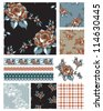 Floral Rose Seamless Patterns, trims and icons. - stock vector