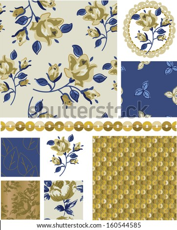 Floral Rose Vector Seamless Patterns and Elements.  Great to use as pattern fills or digital paper. - stock vector