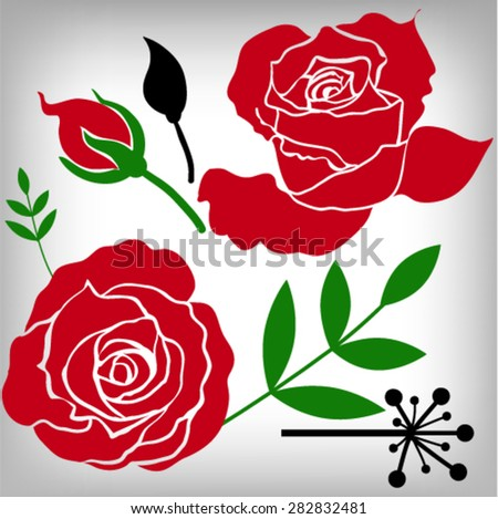 Floral Roses Elements for design, EPS10 Vector background - stock vector
