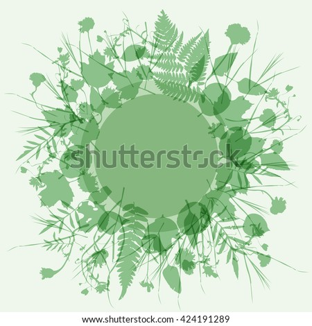 floral round frame wreath of flowers, natural design leaves flowers elements. Spring summer design for invitation, wedding or greeting cards. Green, light green background. Vector - stock vector