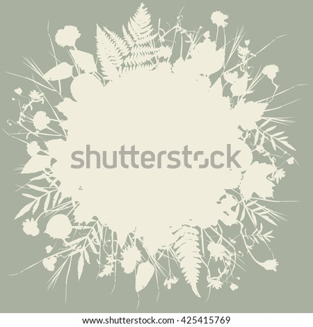 floral round frame wreath of flowers, natural design leaves flowers elements. Spring summer design for invitation, wedding or greeting cards. beige silhouette, gray background. Vector - stock vector