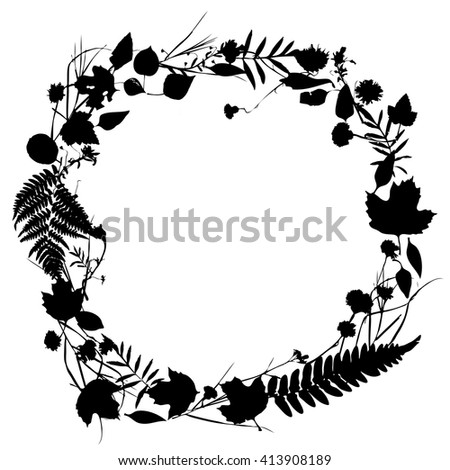 floral round frame wreath of flowers, natural design with leaves and flowers elements. Spring summer design for invitation, wedding or greeting cards. Black silhouette, white background. Vector - stock vector
