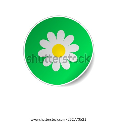 Floral round glossy sticker with corner. Vector illustration - stock vector