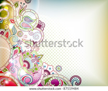 Floral Scroll - stock vector