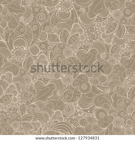 Floral seamless abstract hand-drawn card. Vector background. - stock vector