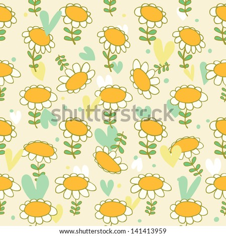 Floral seamless baby pattern  Camomiles delicate texture  Daisy  Bright background with spring flowers  Poppies
