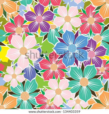 Floral seamless background. - stock vector
