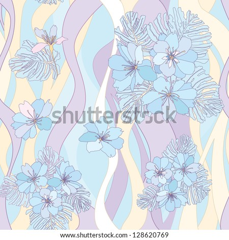 floral seamless background. flower bouquets pattern. floral wavy seamless texture with apple tree flowers. flower seamless background in 1970s style.