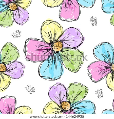 Floral seamless background for your design - stock vector