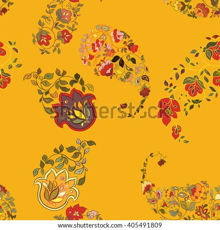 Floral seamless background paisley pattern wallpaper with flowers - stock vector