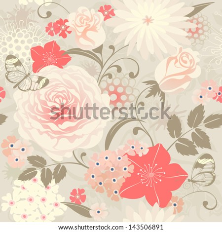 Floral seamless background with roses and butterflies. Vector pattern