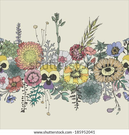 Floral seamless border. Vector hand drawn illustration. - stock vector