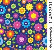 Floral seamless color pattern with flowers and butterfly, pattern for your design, vector - stock vector
