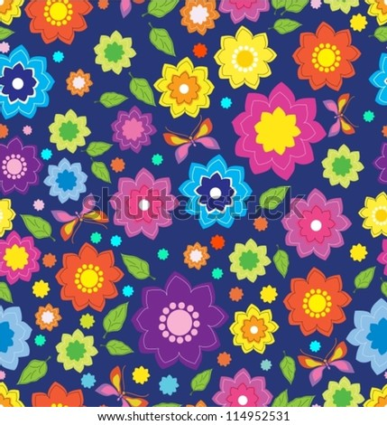 Floral seamless color pattern with flowers and butterfly, pattern for your design, vector