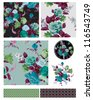 Floral Seamless Flower Patterns and Elements - stock vector