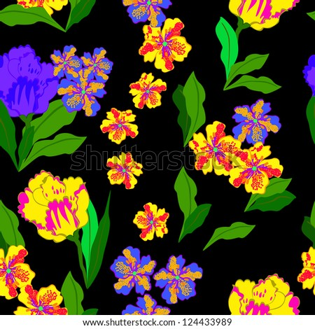 Floral - seamless pattern - stock vector