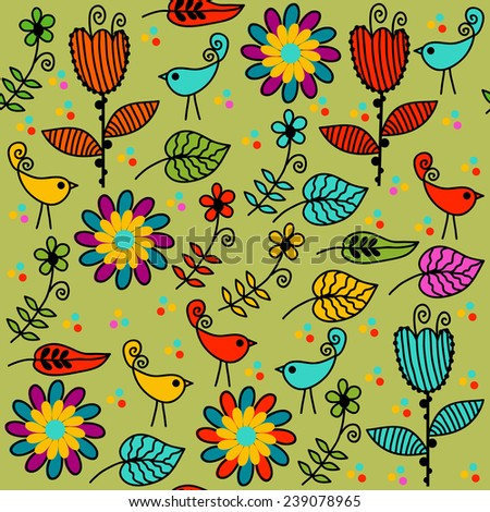 Floral seamless pattern and seamless pattern in swatch menu, vector  - stock vector