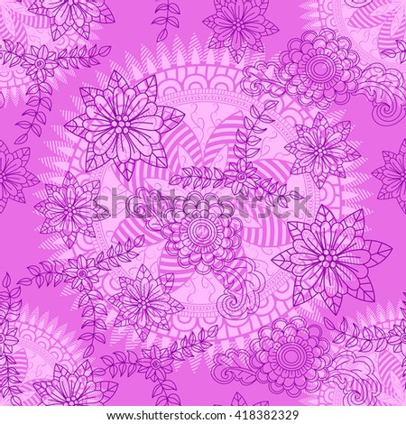 Floral seamless pattern background.  Doodles, hand drawn floral elements. Floral mandala ornament. Vector background.