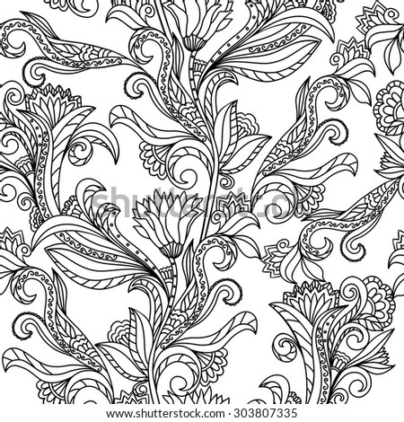 Floral Seamless Pattern Background Paisley Design Coloring Book