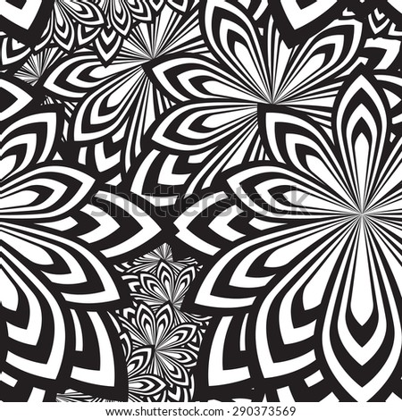 Floral  seamless pattern black and white, Vector illustrations. - stock vector