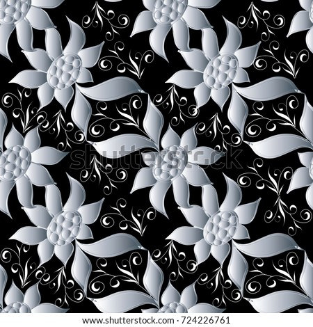 Floral seamless pattern black vector background stock vector floral seamless pattern black vector background fabric wallpaper with white flowers swirl leaves and mightylinksfo