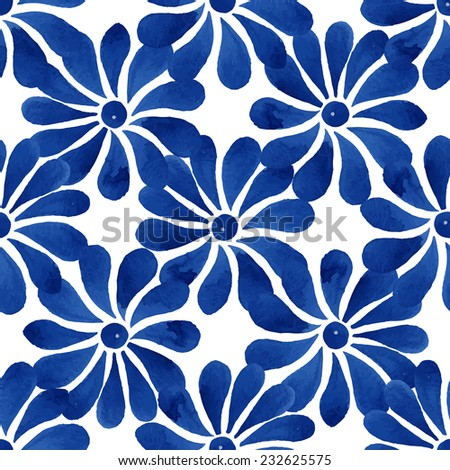 Floral seamless pattern, blue daisy flowers on white background, watercolor, ink. - stock vector