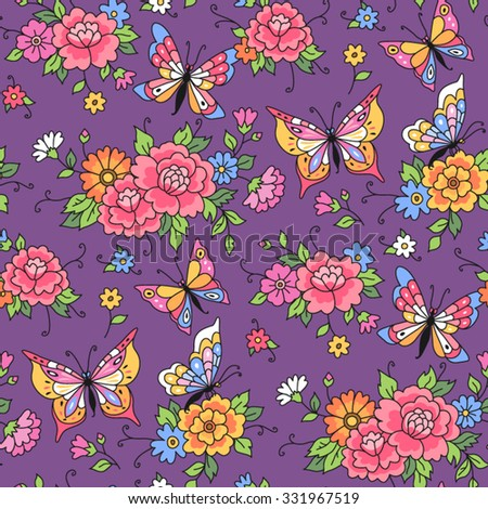 Floral seamless pattern. Butterflies fly among the flowers on violet background - stock vector