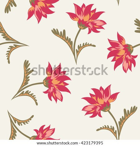 Floral seamless pattern. Decorative background with classical flowers for gobelin print. Vector illustration. - stock vector