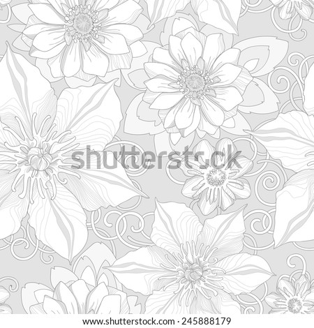 Floral seamless pattern. Detailed flowers, swirls and petals in a monochrome version. Neutral background, delicate pattern. - stock vector