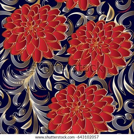 Floral Seamless Pattern Flourish 3d Wallpaper Ornate Flowery Blue Vector Background Surface Elegant