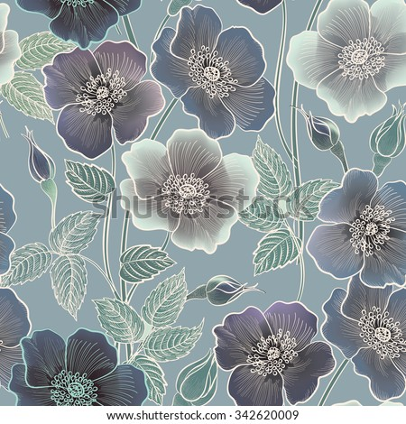 Floral seamless pattern. Flower background. Floral tile ornamental texture with flowers. Spring flourish garden - stock vector