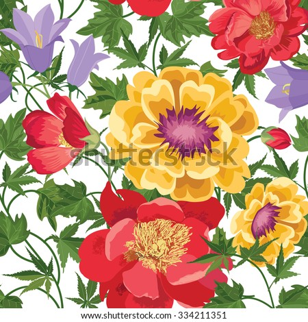 Floral seamless pattern. Flower background. Floral tile spring texture with flowers. Spring flourish garden - stock vector