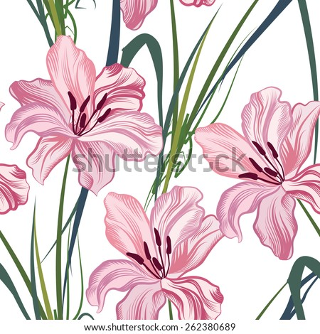 Floral seamless pattern. Flower geometric abstract background. - stock vector