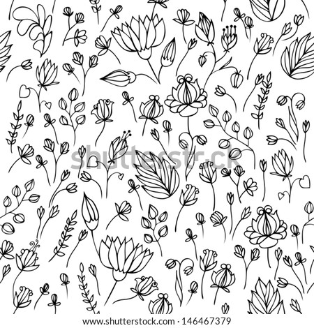 floral seamless pattern flower vector - stock vector